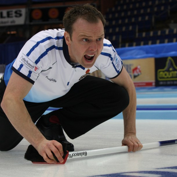 Tom Brewster at the European Curling Championships.