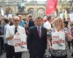 Nigel Griffiths MP with protesters