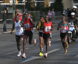 A common site in elite marathons. (World record holder Haile Gebrselassie 3rd from right)