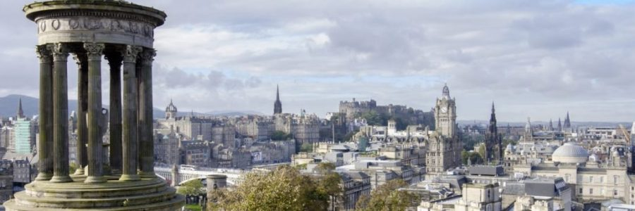 View of Edinburgh Old Town and Castle from Calton Hill