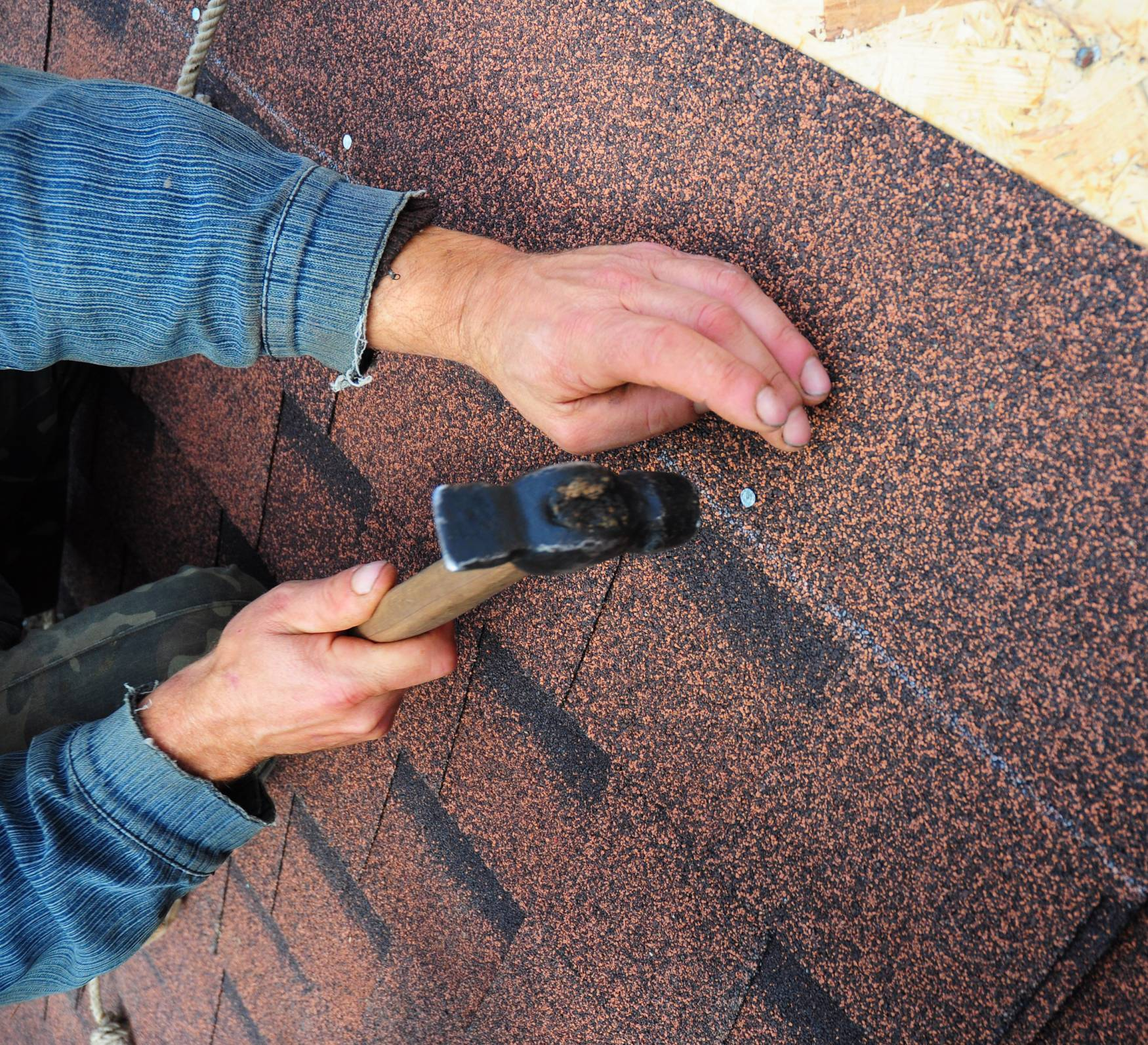 Canva Roofer Installs Bitumen Roof Shingles