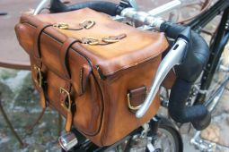 Touring style handlebar bag. All hand made, etc.