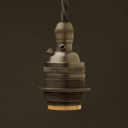 Bronze E26 120V Cordgrip Pendant socket Barrel one ring