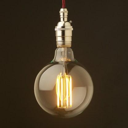 Edison style light bulb and E26 nickel pendant
