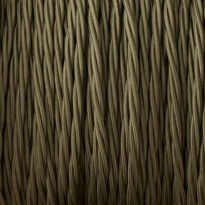 Cloth covered braided 3 core lighting Flex 120V khaki