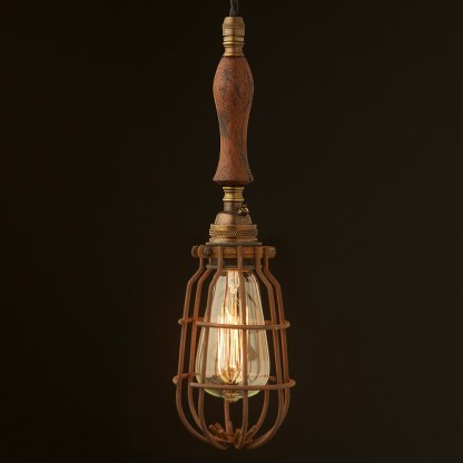 Brass Trouble Light Cage Pendant wooden handle