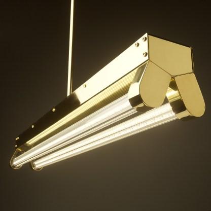 Polished Brass Art Deco Twin LED Tube Light clear hero