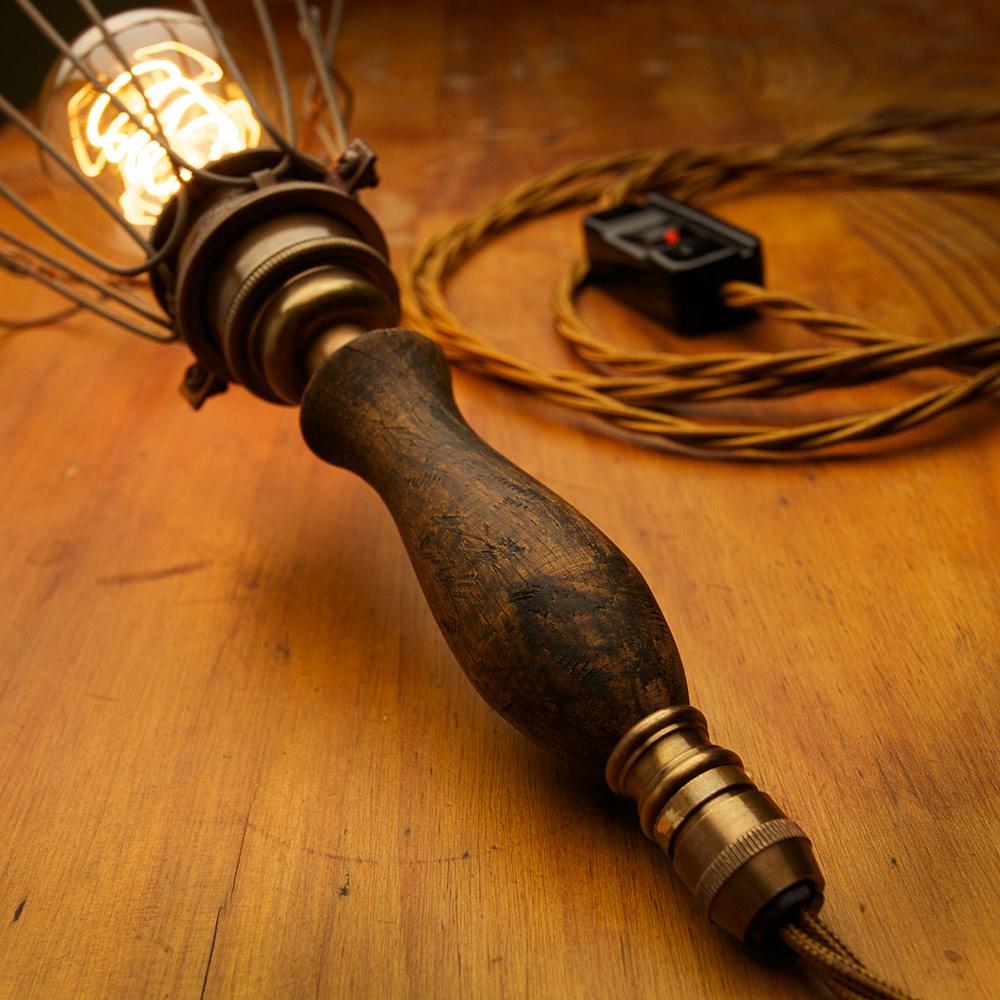 Brass Trouble Light Wooden Handle  Edison Light Globes