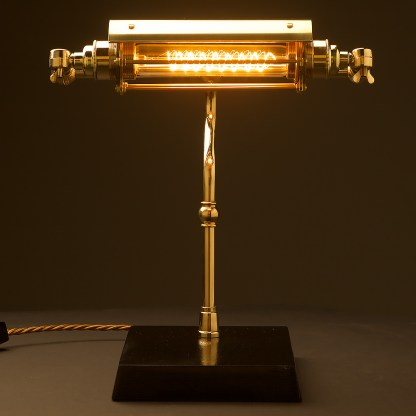 New Brass Steampunk Banker Table Lamp front