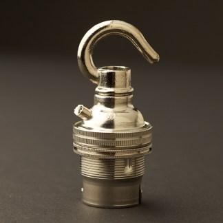 Nickel Hook Pendant Lampholder Bayonet B22 fitting