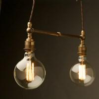 Two Light Shade Brass E27 Pendant