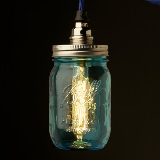 Blue glass Preserving Jar Nickel E14 pendant