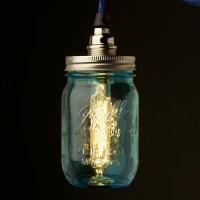 Blue glass Preserving Jar Nickel E14 240V pendant light