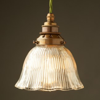 Holophane fluted dome light shade E27 pendant