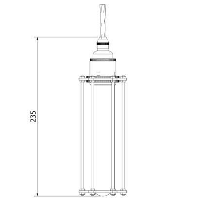 Edison style tube cage E27 brass pendant
