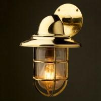 Vintage Ship Brass Shaded Bulkhead Wall Light