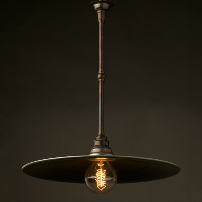 Antiqued Steel Non Gallery Type Flat Light Shade 390mm