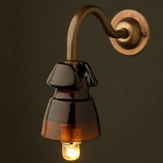 Brass Coventry Wall mount Heavy Amber Insulator