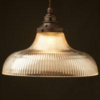 Large Holophane glass dish light shade pendant