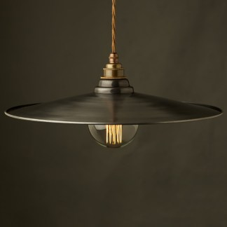 Antiqued Steel Flat Shade Pendant Brass E27