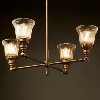 Brass Four Bulb E27 Adjustable Shade Light