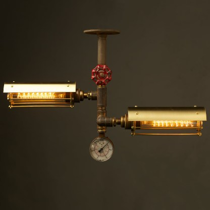 Industrial Brass Twin Cage Tube Ceiling Light