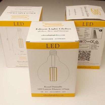8 Watt Dimmable Lantern Filament LED E27 Clear 125mm