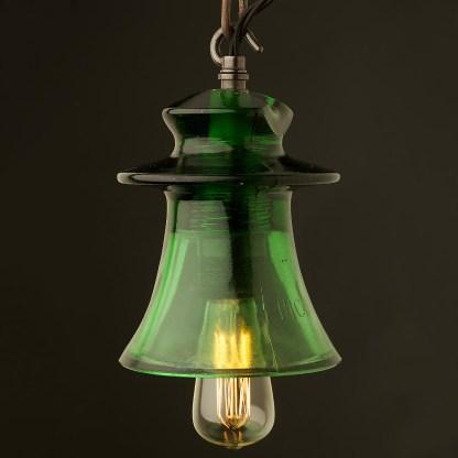 Russian Fluted dark green Insulator E27 pendant