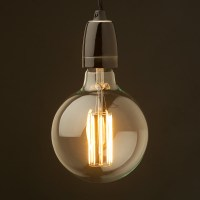 Edison style light bulb and E27 black fine porcelain pendant