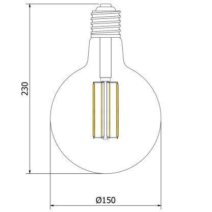 8 Watt Dimmable Filament LED E40 G150