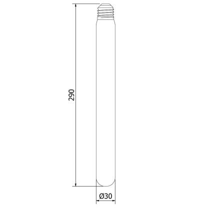 Vintage Edison Long Tube Spiral Filament Bulb 290mm 25W