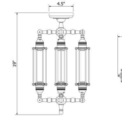 Four Cage Tube Bulb Pendant 185mm