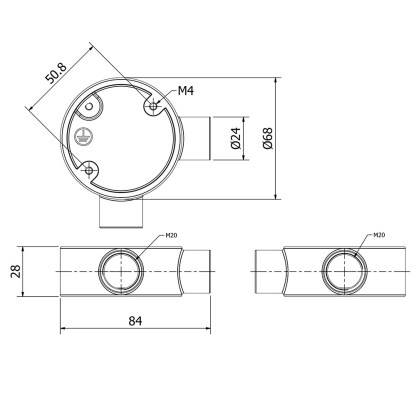 2 Way Angle 20mm Conduit Outlet Junction Box
