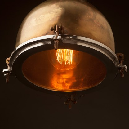 Vintage brass ships enclosed pendant