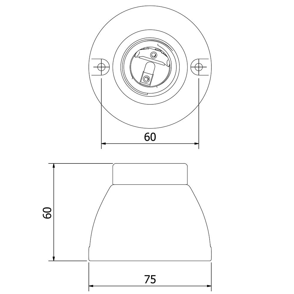 Black Porcelain Batten Holder Edison E27 Fitting