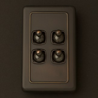 Traditional Antique Copper large plate quad rocker switch
