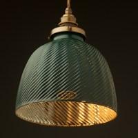 Ribbed glass green domed X-Ray shade pendant
