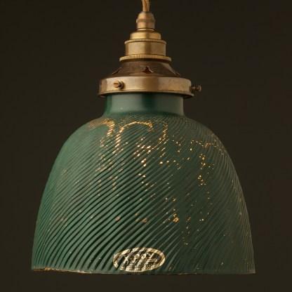 Ribbed glass green small domed X-Ray shade pendant