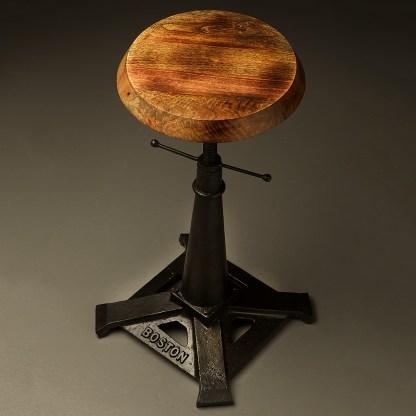 Industrial cast iron adjustable height bar stool