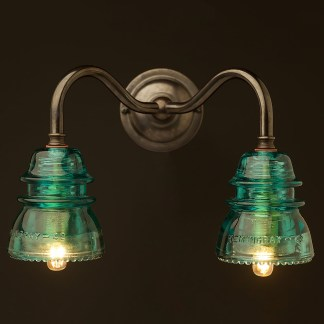 Brass Twin Hemingray Insulator Wall Light