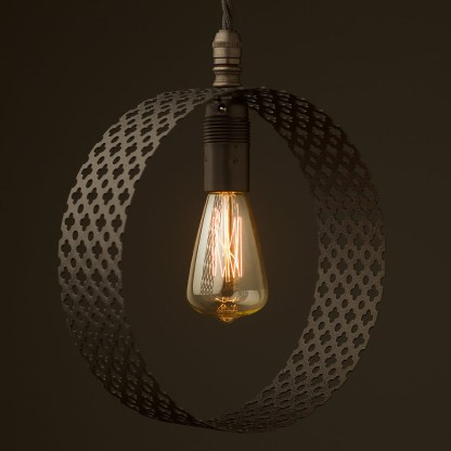 Small Circular club&round mesh steel vertical pendant