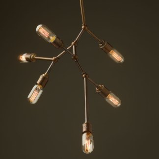 6 bulb vertical angled brass bar chandelier