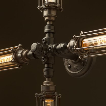 Propeller style 4 bulb pipe and brass cage hub wall light