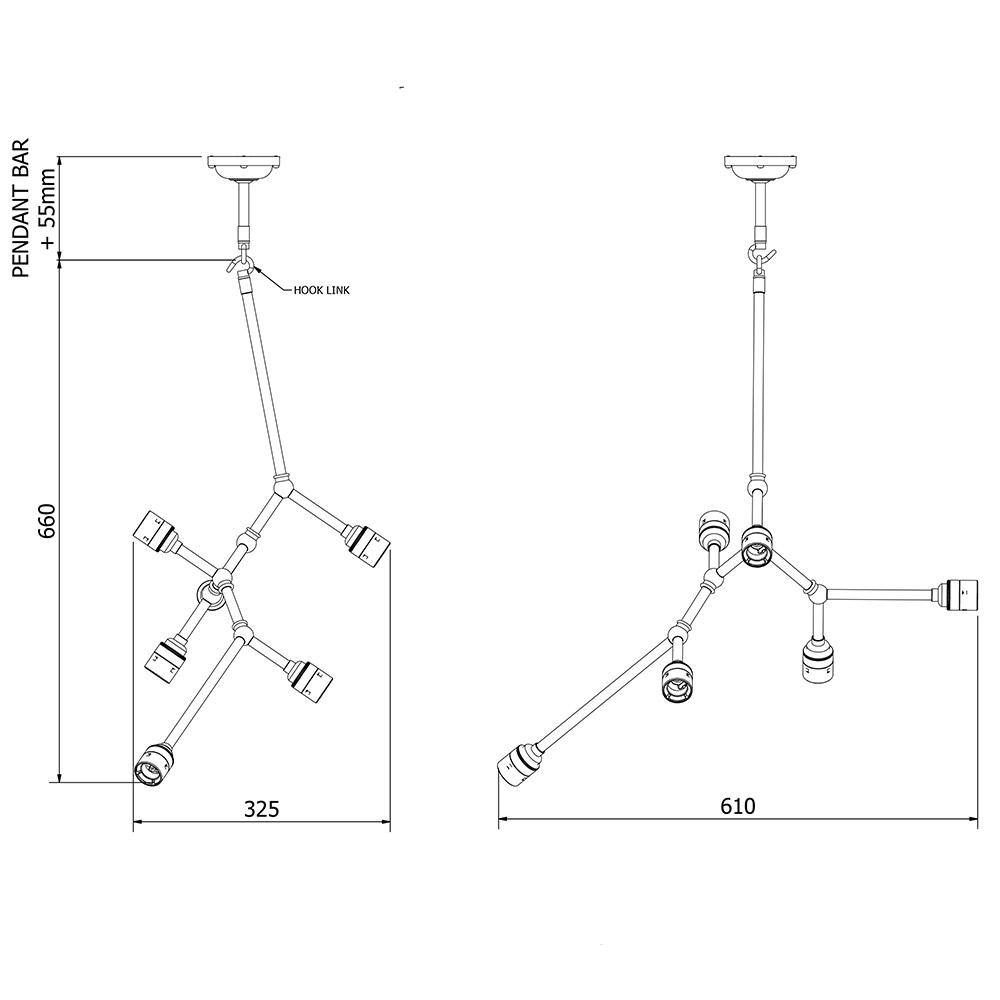 6 bulb vertical angled brass bar chandelier