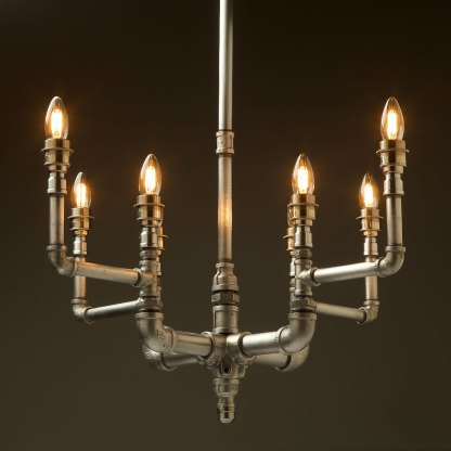 Plumbing Pipe 8 bulb formal chandelier