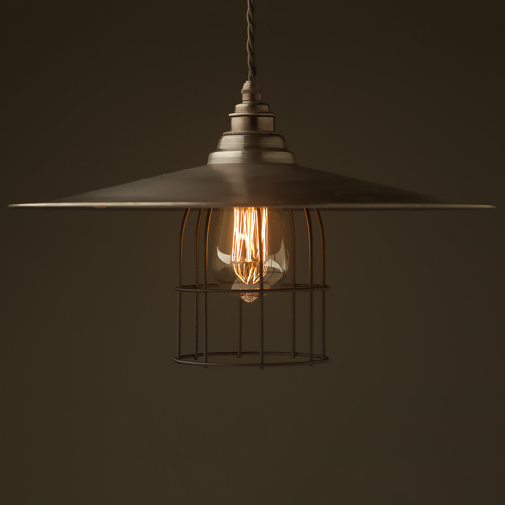 dbe86611a10c Antiqued Steel Flat Shade Cage Pendant
