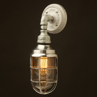 Outdoor aluminium and plumbing pipe bunker cage wall light