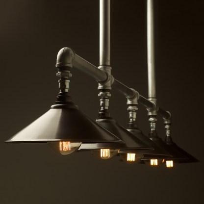 Five lamp Plumbing pipe billiard table light Large Antiqued steel G95