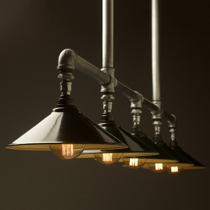 Five lamp Plumbing pipe billiard table light Large Dark Green G95