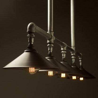 Five lamp Plumbing pipe billiard table light Large Rustic steel G95